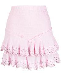Isabel Marant Landora Eyelet-embellished Ruffle Skirt - Pink