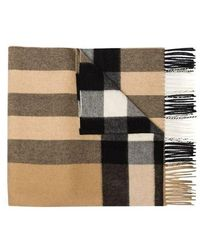 Burberry Beige Check-pattern Cashmere Scarf - Natural