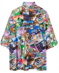 Balenciaga Multicolored Oversized Shirt With Postcards Print - Blue
