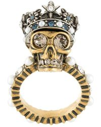 Alexander McQueen | King Skull Crystal-detail Ring | Lyst