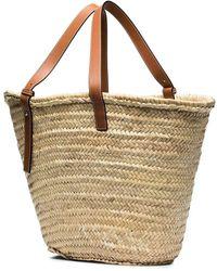 Loewe Beige Large Basket Bag In Raffia And Calfskin - Natural