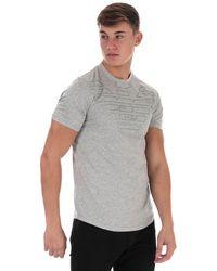 Armani Outline Eagle Logo T-shirt - Grey