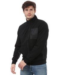 Calvin Klein Mixed Media Zip Sweatshirt - Black
