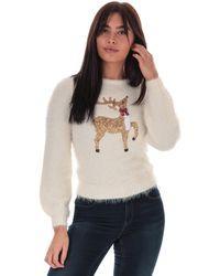 Brave Soul Sequin Reindeer Jumper - Multicolour