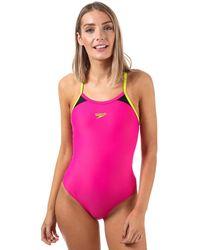 Speedo Splice Thinstrap Racerback Swimsuit - Pink