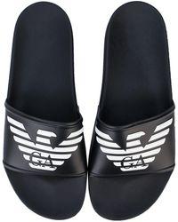 Armani Embossed Logo Slide Sandals - Black