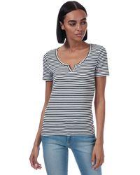 ONLY Bella Placket Stripe T-shirt - White