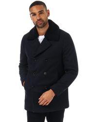Ted Baker Frost Wadded Wool Overcoat - Blue