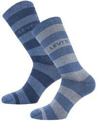 Levi's Rugby Stripe 2 Pack Socks - Blue