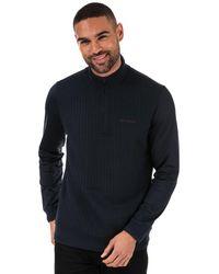 Ted Baker Pitchin Half Zip Funnel Neck Sweatshirt - Blue