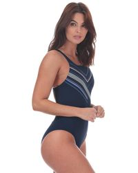 adidas Placed Print Swimsuit - Blue