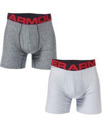 Under Armour Tech 6 Inch Boxerjock 2 Pack - Grey