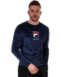 Fila Dalbert Velour Ls Graphic T-shirt - Blue