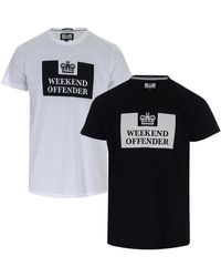 Mens Weekend Offender La Sante 2 Pack Logo T-Shirts In White Grey One T-Shirt