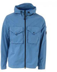 C P Company Garment Dyed Gaberdine Hooded Lens Overshirt - Blue