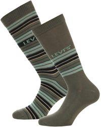 Levi's Striped 2 Pack Socks - Green