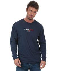 Tommy Hilfiger Contrast Linear Logo Long Sleeve T-shirt - Blue