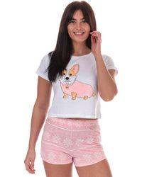 Brave Soul Corgi Short Pyjama Set - White