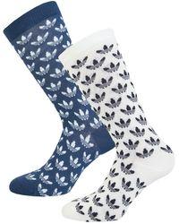 adidas Originals 2 Pack Trefoil Crew Socks - Blue