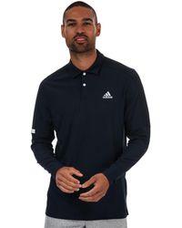 adidas Sport Long Sleeve Golf Polo Shirt - Blue