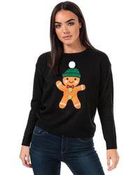 Brave Soul Gingerbread Christmas Jumper - Black