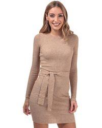 Brave Soul Belted Jumper Dress - Brown