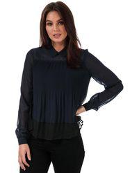 Vero Moda S Lea Plisse Long Sleeve Top In Night Sky/black - Blue