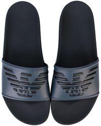Armani Embossed Logo Slide Sandals - Grey