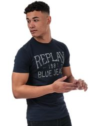 Replay Vintage Jeans Logo T-shirt - Blue