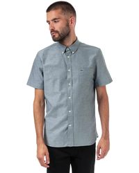 Lacoste Regular Fit Short Sleeve Oxford Cotton Shirt - Blue