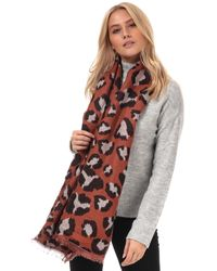 Vero Moda Novie Leopard Print Scarf - Brown