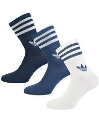 adidas Originals 3 Pack Mid-cut Crew Socks - Purple