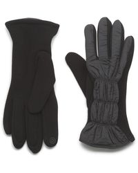 G.H.BASS G.h. Bass Ruched Nylon Fleece Glove With Touch - Black