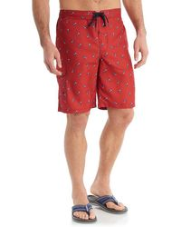G.H.BASS G.h. Bass Allover Beer Coozie Print Cargo Swim Trunks - Red