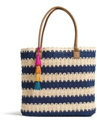 G.H. Bass & Co. - Straw Stripe Tote With Tassel - Lyst