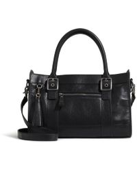 G.H.BASS G.h. Bass Leather Satchel With Tassel - Black