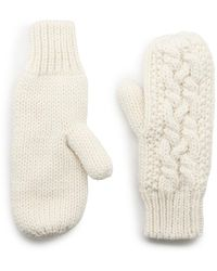 G.H.BASS G.h. Bass Cable Knit Mittens - White
