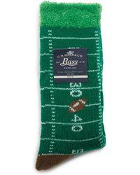 G.H.BASS G.h. Bass Dual Layer Football Yardline Slipper Sock