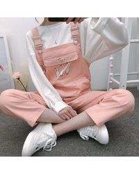 Ghoul RIP Duck Duck Goose Overalls - Pink