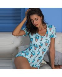 Ghoul RIP Ice Cream Button-up Romper - Blue