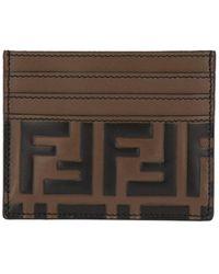 Fendi - Porta carte di credito in pelle con monogramma ff embossed - Lyst