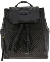 dd45e1b6b0b0 Lyst - Tory Burch Thea Bucket Bag - Black in Metallic