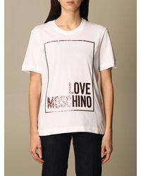 Love Moschino Tshirt in cotone con stampa logo glitter - Bianco