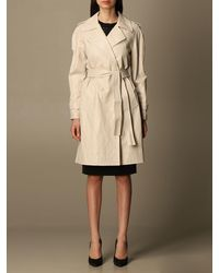 Twin Set Twinset Trench Coat In Synthetic Leather With Belt - Black