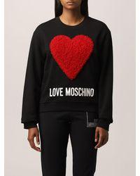 Love Moschino Felpa in cotone con cuore - Nero