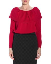 Boutique Moschino - Sweater With Boat Neckline And Maxi Flounces - Lyst