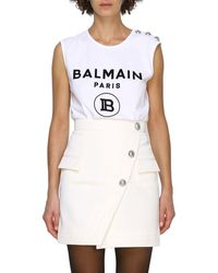 Balmain Sleeveless Crew Neck Top With Maxi Crest And Jewel Buttons - White