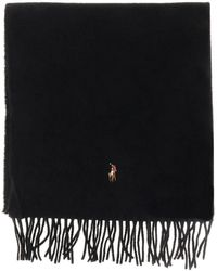 Polo Ralph Lauren Wool Scarf With Logo - Black