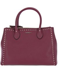 Twin Set Twin-set Tote Large Bag With Logo And Studs - Red