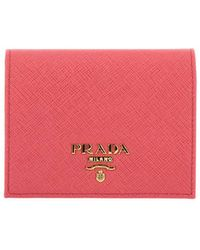 Prada Wallet In Saffiano Leather With Metal Logo And Coin Holder - Pink